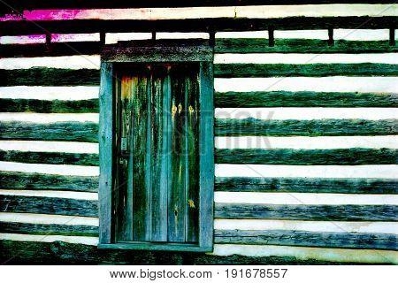 An old log cabin door color filtered.