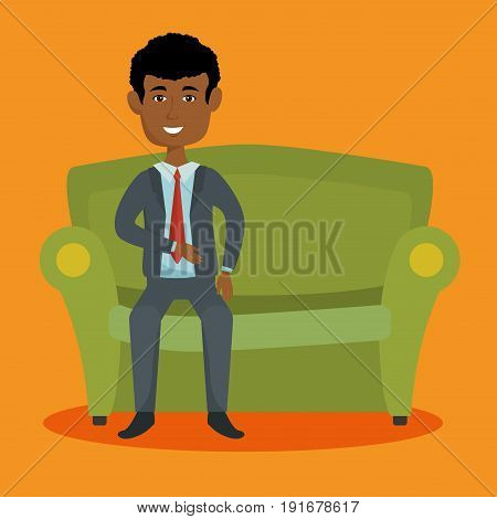 Afro american businessman sitting on couch over orange background vector illustration