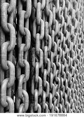 Wall of Chains and Chain Details in Budapest Hungary.