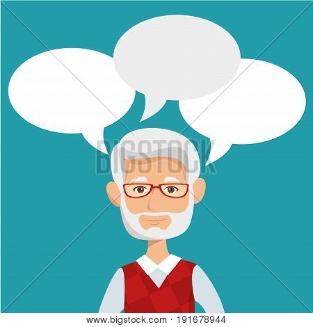 Old man with speech balloons over teal background vector illustration