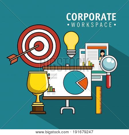 Corporate workspace design with trophy target and related objects over teal background