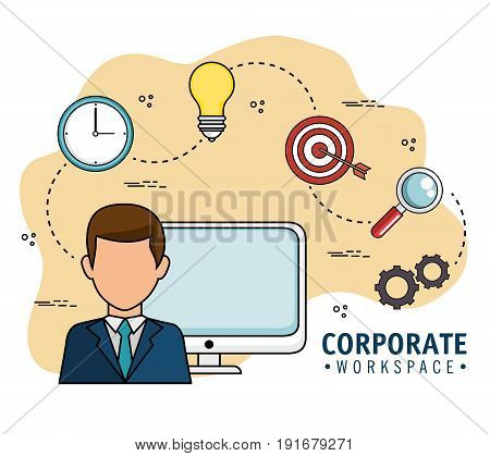 Corporate workspace design with man avatar and strategy related objects over white background vector illustration