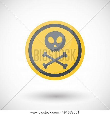 Poison sign vector flta icon Flat design of danger alert symbol with round shadow isolated vector illustration