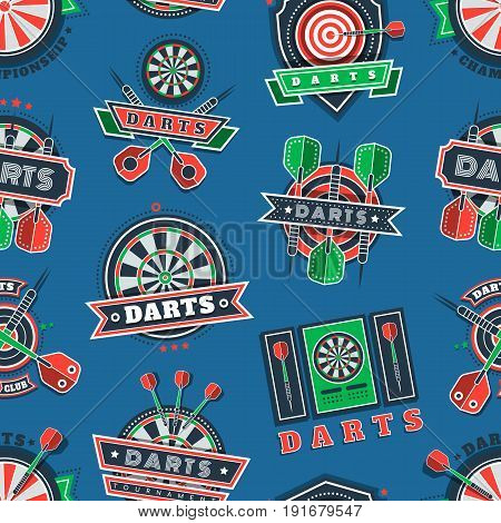 Darts sport tournament and championship icons and badges seamless pattern. Dartboards, targets and arrows with wings decorated with ribbons, stars, dots. Design for darts sport and fan clubs.