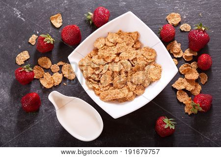 Cereal Bowl With Fresh Strawberries And Milk