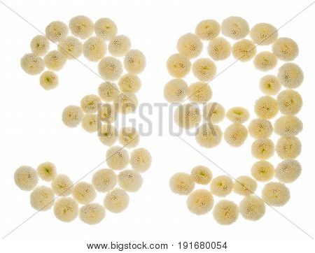 Arabic Numeral 39, Thirty Nine, From Cream Flowers Of Chrysanthemum, Isolated On White Background
