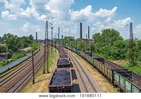 View of access railway tracks leading to metallurgical enterprise of blast furnace smelting