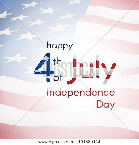 Congratulations on the Independence Day of the USA on July 4 - design composition from text with the texture of the American flag on the background of the flying flag of the US