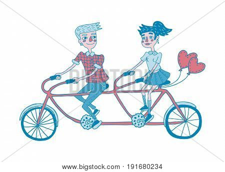 Young couple riding tandem bicycle. Dating. Hand drawing illustration. Isolated vector.  Can be used for your design project