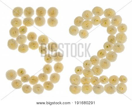 Arabic Numeral 52, Fifty Two, From Cream Flowers Of Chrysanthemum, Isolated On White Background
