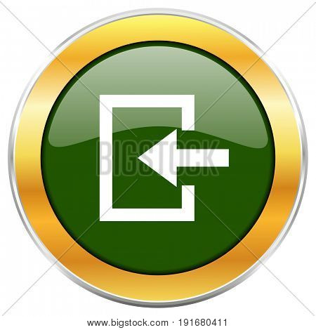 Enter green glossy round icon with golden chrome metallic border isolated on white background for web and mobile apps designers.