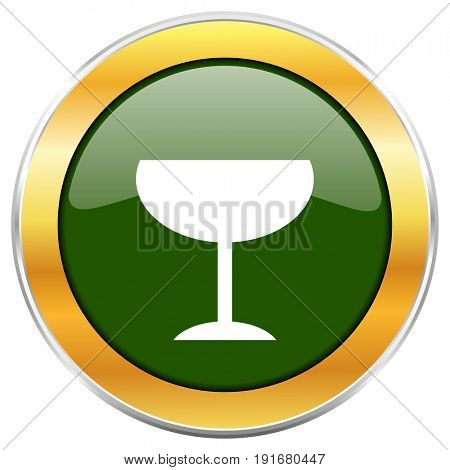 Alcohol  green glossy round icon with golden chrome metallic border isolated on white background for web and mobile apps designers.