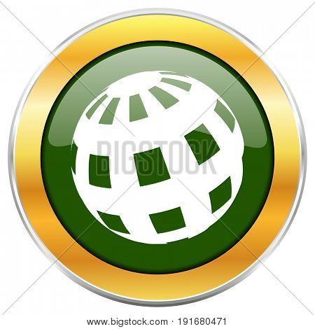 Earth green glossy round icon with golden chrome metallic border isolated on white background for web and mobile apps designers.