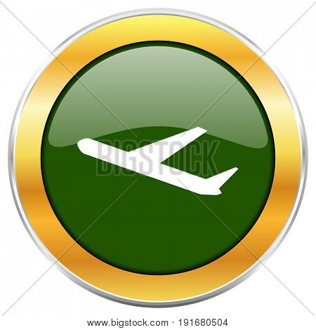 Deparures green glossy round icon with golden chrome metallic border isolated on white background for web and mobile apps designers.