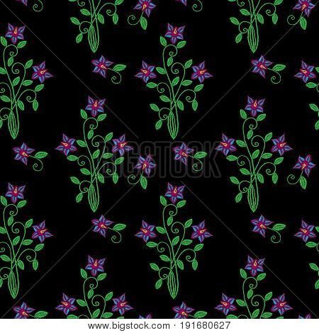 Seamless pattern with embroidery stitches imitation little flower and leaf. Folk flower embroidery pattern for printing on fabric paper for scrapbook gift wrap.