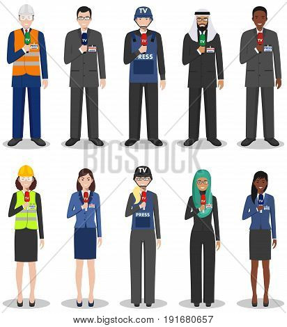 Detailed illustration of reporters and journalists in flat style on white background.