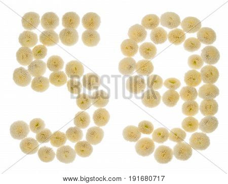 Arabic Numeral 59, Fifty Nine, From Cream Flowers Of Chrysanthemum, Isolated On White Background