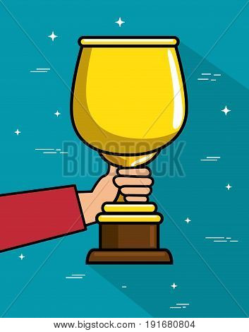 Hand holding trophy over teal background vector illustration