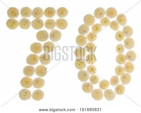 Arabic Numeral 70, Seventy, From Cream Flowers Of Chrysanthemum, Isolated On White Background