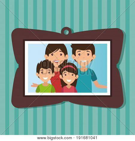 Cute family portrait with  frame over teal striped background