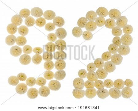 Arabic Numeral 92, Ninety Two, From Cream Flowers Of Chrysanthemum, Isolated On White Background