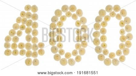 Arabic Numeral 400, Four Hundred, From Cream Flowers Of Chrysanthemum, Isolated On White Background