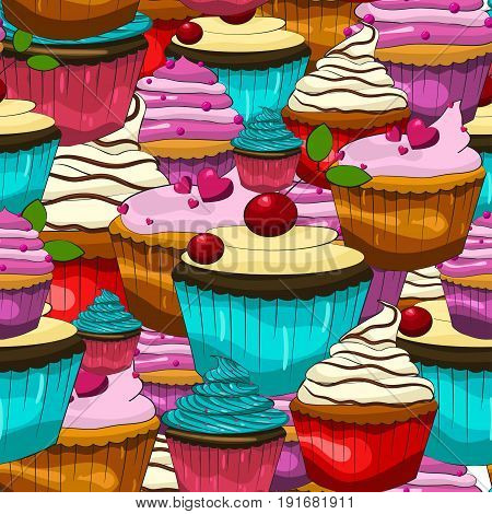 Colorful cupcake pattern. Vector background. Illustration of bright cupcakes in cartoon style.