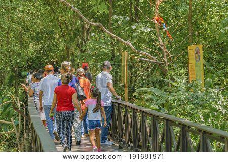 GUAYAQUIL, ECUADOR, MAY - 2016 - People at historic park zoo located at samborondon neighborhood Guayaquil Ecuador