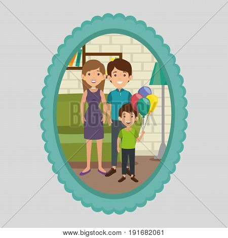 Cute family portrait with  frame over gray background
