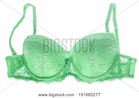 Green Silk Bra
