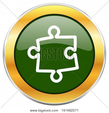 Puzzle green glossy round icon with golden chrome metallic border isolated on white background for web and mobile apps designers.