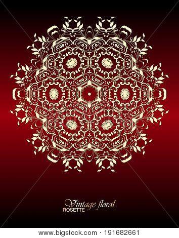 Vector Vintage Floral Decorative Ornamental Element For Design Rosette