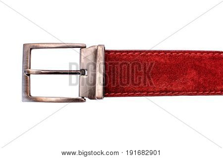 Fashionable Male Red Strap Isolated On White Background