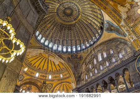ISTANBUL, TURKEY - SEPTEMBER 29: Hagia Sophia indoor shot on September 29, 2011 in Istanbul. It is a former Orthodox patriarchal basilica, later a mosque, and now a museum.