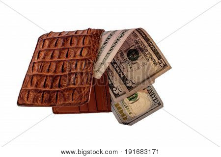 Purse Of Crocodile Leather Brown Money Money Dolar Currency On Isolated On White Background