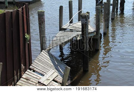 View of old unused ruined pier in Florida