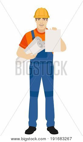 Builder holding the project plans and paper. Full length portrait of builder character in a flat style. Vector illustration.