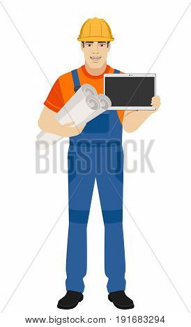 Builder holding the project plans and showing blank digital tablet PC. Full length portrait of builder character in a flat style. Vector illustration.