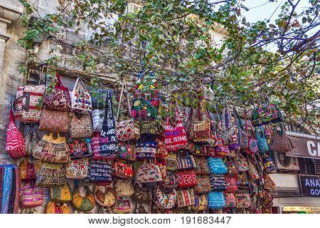 ISTANBUL, TURKEY - SEPTEMBER 29: City market with bags shot on street kiosk September 29, 2011 in Istanbul.