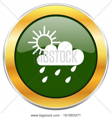 Rain green glossy round icon with golden chrome metallic border isolated on white background for web and mobile apps designers.