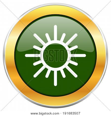 Sun green glossy round icon with golden chrome metallic border isolated on white background for web and mobile apps designers.