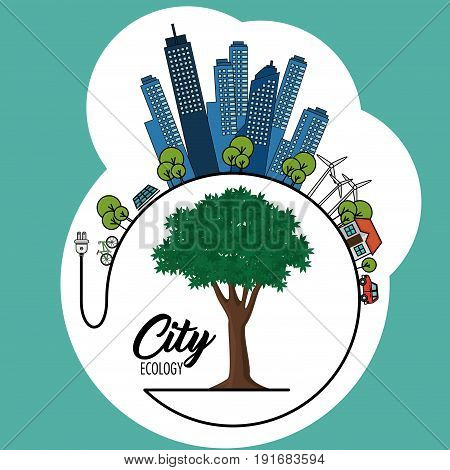 Eco friendly city with wind turbines tree and electric plug over teal background vector illustration