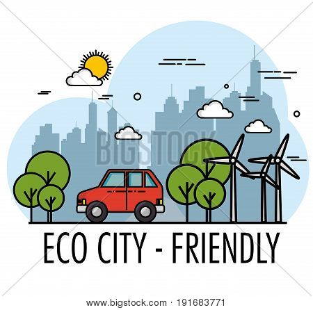 Eco friendly city skyline with wind turbines car and trees design vector illustration