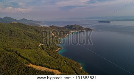 aerial view of the Thassos island Greece