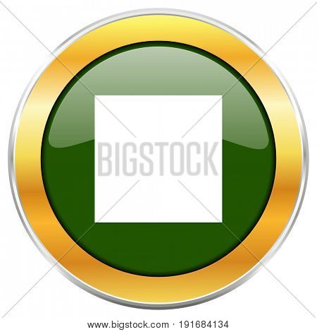 Stop green glossy round icon with golden chrome metallic border isolated on white background for web and mobile apps designers.