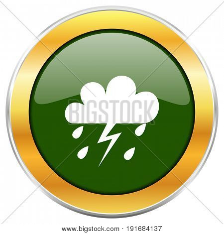 Storm green glossy round icon with golden chrome metallic border isolated on white background for web and mobile apps designers.