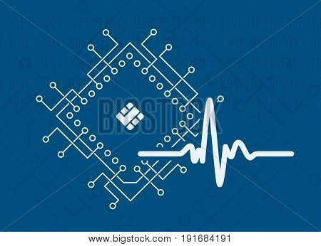 Artificial intelligence modern technology concept with cpu processor and signal form pulse binary code background. Vector illustration.