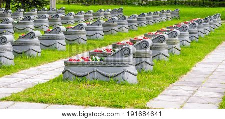 Graves In The Cemetery Grass And Paths Around Them.