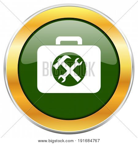 Toolkit green glossy round icon with golden chrome metallic border isolated on white background for web and mobile apps designers.