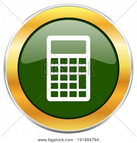 Calculator green glossy round icon with golden chrome metallic border isolated on white background for web and mobile apps designers.